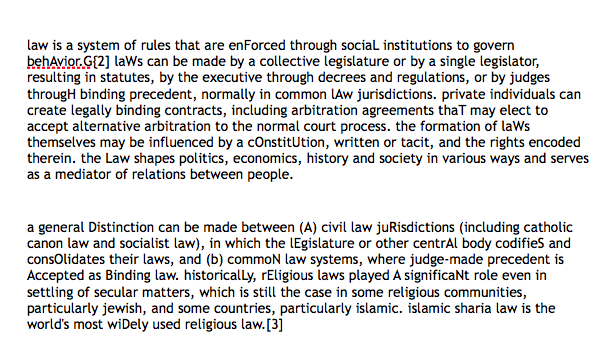 law, defined by Wikipedia