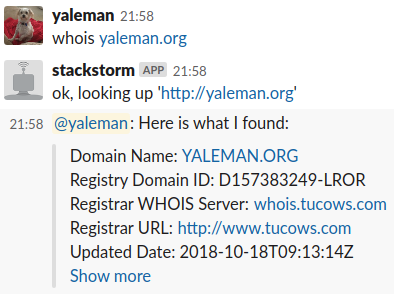 Whois for Stackstorm